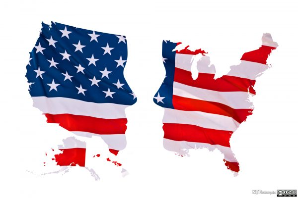 A U.S. flag in the shape of the U.S., split down the middle with two faces on either side.
