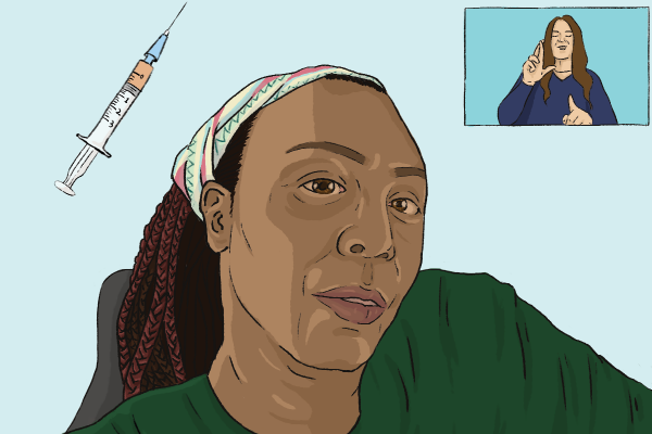 An illustration of a screenshot of Engracia Figueroa taken from Disability Rights California's January 28 press conference. Elena is pictured with dark red braids wearing a dark green shirt and a multi-colored bandana against a blue background. On the top left corner is a vaccine needle. On the right is an ASL interpreter mid-sign.