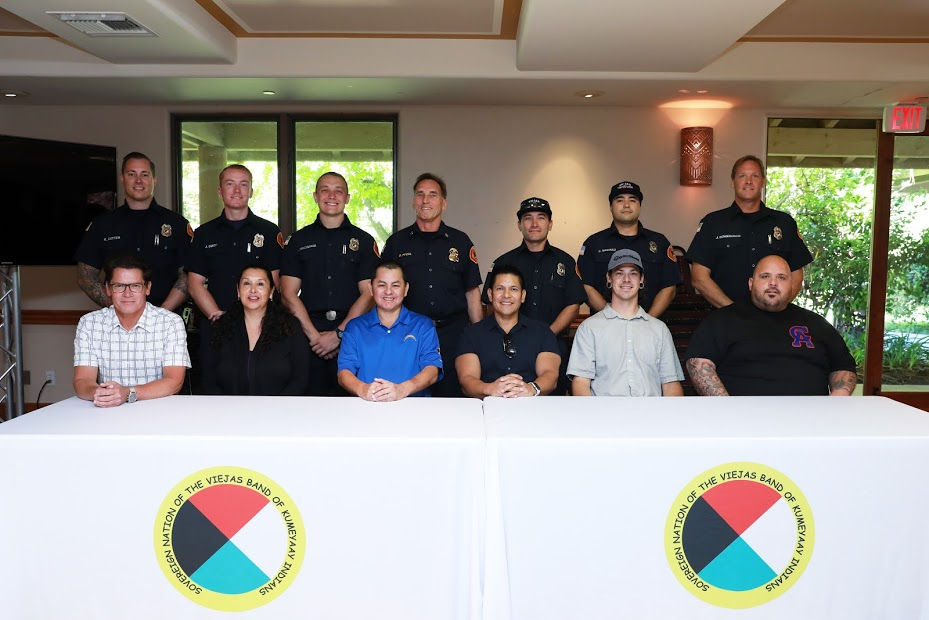Viejas Band Fire Department (top) and Tribal Council (bottom). Bob Pfohl is the center figure in the top row; Gabriel TeSam is the second figure from the right in the bottom row.